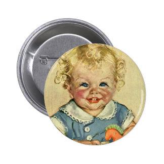 Vintage Cute Blonde Scandinavian Baby Boy or Girl Pinback Button