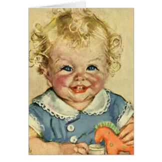 Vintage Cute Blonde Scandinavian Baby Boy or Girl Greeting Cards