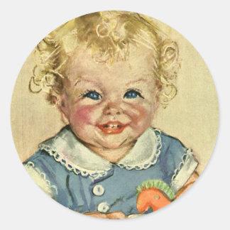 Vintage Cute Blonde Scandinavian Baby Boy or Girl Classic Round Sticker