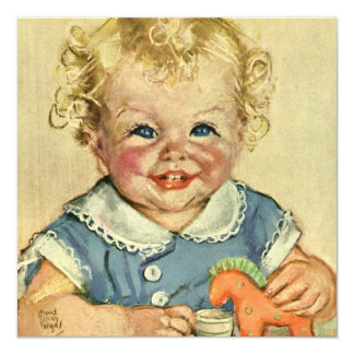 Vintage Cute Blonde Scandinavian Baby Boy or Girl 5.25x5.25 Square Paper Invitation Card
