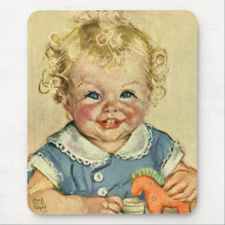 Vintage Cute Blonde Scandinavian Baby Boy or Girl Mouse Pad