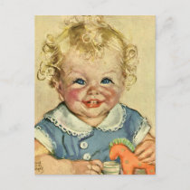 Vintage Cute Blonde Scandinavian Baby Boy or Girl Postcard