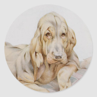 Vintage Cute Bloodhounds, Puppy Dogs by EJ Detmold Classic Round Sticker