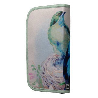 Vintage Cute Blue Green Birds On Nest And Flowers Planners