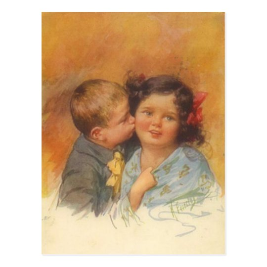 Vintage Cute Boy Stealing a Kiss on the Cheek Postcard