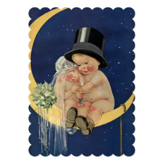 Vintage Cute Bride Groom and Moon, Bridal Shower 5x7 Paper Invitation Card