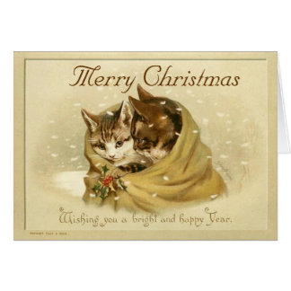 Vintage Cute Cats  Christmas Card