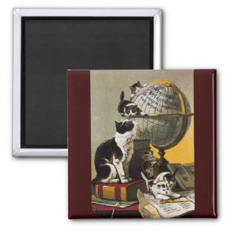 Vintage Cute Cats Kittens School 2 Inch Square Magnet