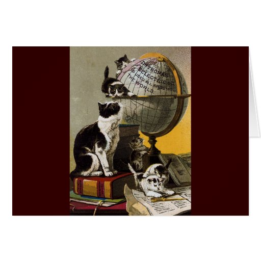 Vintage Cute Cats Kittens School Greeting Cards