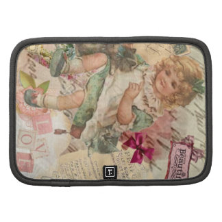 Vintage cute chic Victorian girl cat & pink floral Organizer