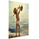 Vintage Cute Child Hanging Laundry at the Beach Stretched Canvas Print
