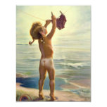 Vintage Cute Child Hanging Laundry at the Beach Personalized Invite