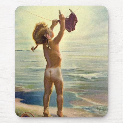 Vintage Cute Child Hanging Laundry at the Beach Mouse Pads