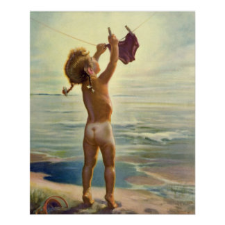 Vintage Cute Child Hanging Laundry at the Beach Posters