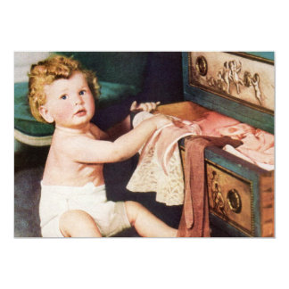 Vintage Cute Child, Toddler Boy Girl Making a Mess Card