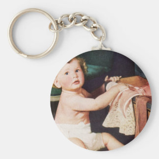 Vintage Cute Child, Toddler Boy Girl Making a Mess Keychain