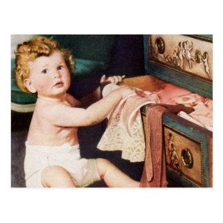Vintage Cute Child, Toddler Boy Girl Making a Mess Postcard