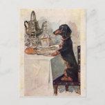 "Vintage Cute Dachshund Drinking Tea Postcard<br><div class=""desc"">Vintage Cute Dachshund Drinking Tea, retro, antique, vintage, dachshund, drinking, tea, mom, funny, cute, elegant, chic, party, roses, humorous, dachshund dog, retro antique vintage, dachshund drinking tea, dachshund mom, funny dachshund vintage, cute dachshund vintage antique, elegant chic dachshund dog, dachshund having party, happy birthday, chic roses vintage, funny humorous dachshund...</div>"