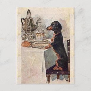 Vintage Cute Dachshund Drinking Tea Postcard