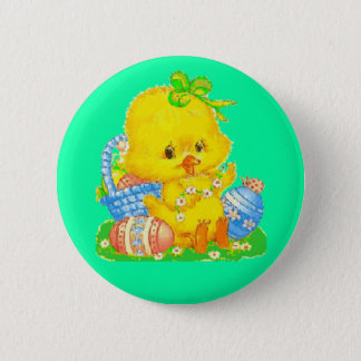 Vintage Cute Easter Duckling and Easter Egg Basket Button