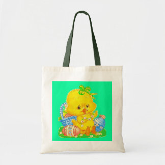 Vintage Cute Easter Duckling and Easter Egg Basket Tote Bag