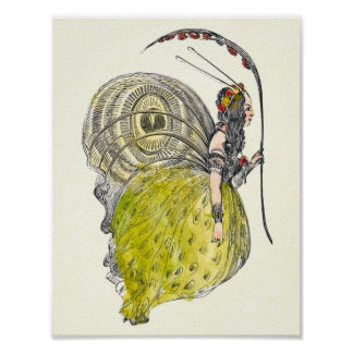 Vintage Cute Fantasy Butterfly Fairy with Wings Poster