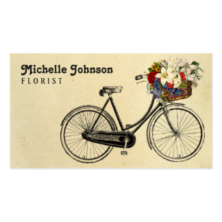 Vintage Cute French Bicycle Flowers   Florist Business Card