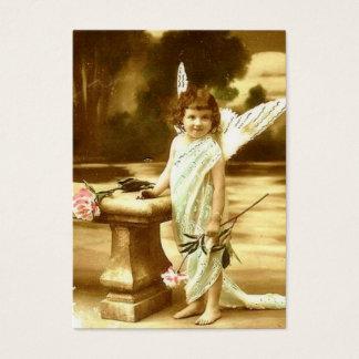 Vintage cute girl angel Card