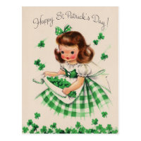 Vintage Cute Girl Shamrock St Patrick's Day Card