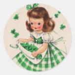 Vintage Cute Girl Shamrock St Patrick's Day Card Classic Round Sticker