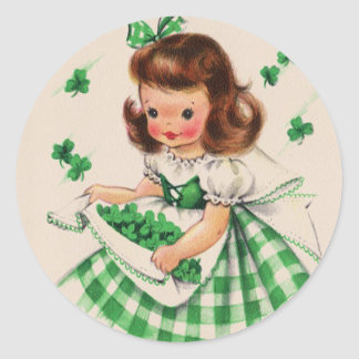 Vintage Cute Girl Shamrock St Patrick's Day Card Classic Round Sticker