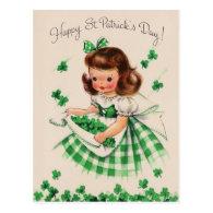 Vintage Cute Girl Shamrock St Patrick's Day Card Post Card