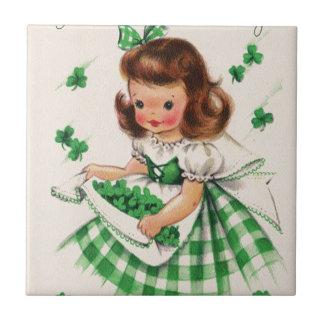 Vintage Cute Girl Shamrock St Patrick's Day Card Tile