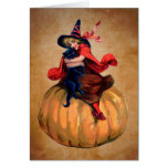 vintage cute halloween witch and cat greeting card