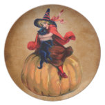 vintage cute halloween witch and cat party plate