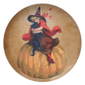 vintage cute halloween witch and cat plate