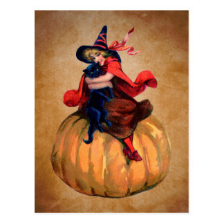 vintage cute halloween witch and cat postcard
