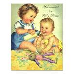 Vintage Cute Happy Children, Baby Shower 4.25x5.5 Paper Invitation Card