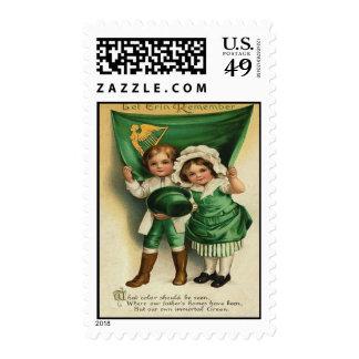 Vintage Cute Irish Couple St Patrick's Day Card Postage
