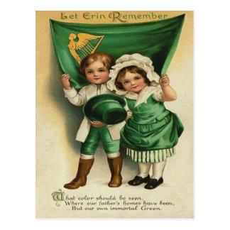 Vintage Cute Irish Couple St Patrick's Day Card Postcard