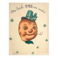 Vintage Cute Irish Potato St Patrick's Day Card Postcard