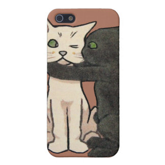 Vintage Cute Kissing Cat Couple iPhone Case
