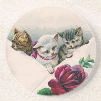 Vintage Cute Kittens In An Envelope With Rose Drink Coasters