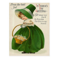 Vintage cute Little Girl In Green St Patrick's Day Postcard
