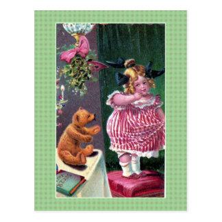 Vintage Cute little girl teddy bear Christmas Postcard