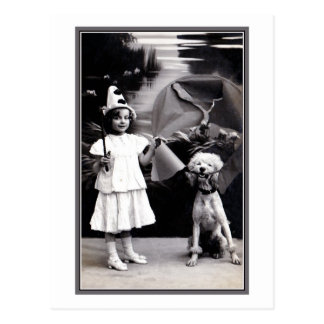 Vintage cute little Pierrot girl with poodle photo Postcard