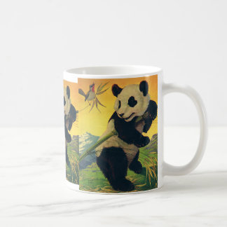 Vintage Cute Panda Bear Eating Bamboo, Wild Animal Coffee Mug