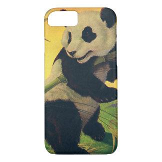 Vintage Cute Panda Bear Eating Bamboo, Wild Animal iPhone 7 Case