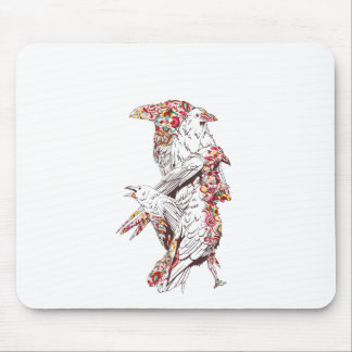 vintage cute parrots and animals mouse pad
