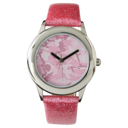 Vintage Cute Pink Camouflage Pattern Wrist Watch